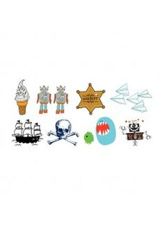 Shop Kids Mix Tattoo Set by Tattly Tattoos. This Kids set is a fun and bright collection of monsters, robots, and treats. There are 8 designs in each set. Easy to apply & remove.