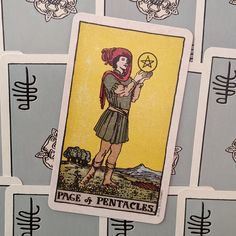 Smith-Waite Tarot Deck - Centennial Edition (Tin Edition) ~ Art by Pamela Colman Smith ~ Published by U. Games Systems, Inc Page Of Pentacles, Tarot Decks, Tin, Baseball Cards, Games, Pewter, Tarot Cards, Gaming, Plays
