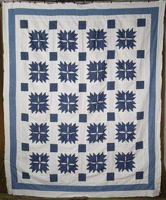"Handpieced Antique c1880 Indigo Blue & White QUILT TOP 88"" x 72"" www.Vintageblessings.com"