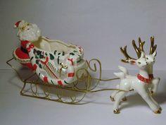 Vintage Christmas  Ucagco Reindeer & Santa in Candy Cane Sleigh Porcelain Figurine Planter Ornament Decoration Japan deer Dish Wire Frame