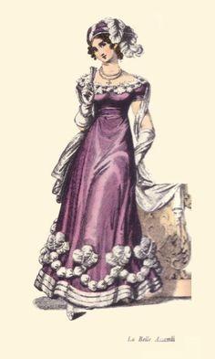 Violet satin evening dress, La Belle Assemblée, 1823.