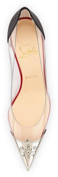 pinterest.com/fra411 #shoes - CHRISTIAN LOUBOUTIN Djalouzi Pvc Captoe Red Sole Pump