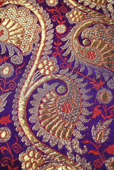 Antique lavish gilt silver/gold and violet Benares brocade Indian sari