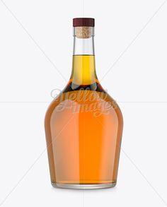750ml Duplicado Bottle With Whiskey Mockup
