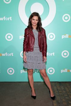 Katie Holmes' cute and youthful Michael Kors micro-print dress with a tiered skirt.  Brand: Michael Kors