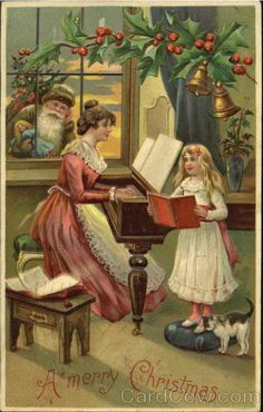 Santa looking Through Window Brown Robe A Merry Christmas Woman Playing Piano Series 296