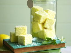 Lemon marshmallows, lemon recipe, brought to you by Australian Women's Weekly Lemon Dessert Recipes, Lemon Recipes, Candy Recipes, Square Cake Pans, Square Cakes, Lemon Curd, Lemon Lime, Desserts With Biscuits, Homemade Sweets