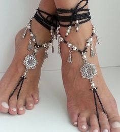 Flower Barefoot sandals, Boho barefoot sandals, Belly dance jewelry, Hippie sandals, Crochet anklet, Ankle Bracelet, Gypsy anklet,Wedding