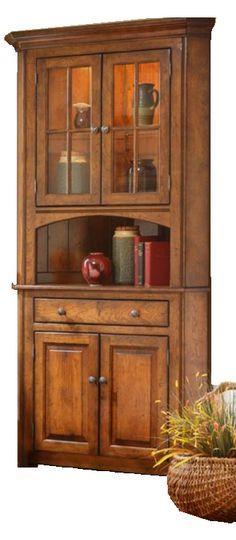 Amish Shaker 2-Door Corner Hutch