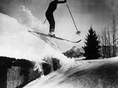 Rooftop Skiing! Fotografisk trykk hos AllPosters.no