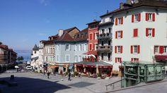 Lac d'Évian-les-Bains in Évian-les-Bains, Rhône-Alpes Evian Les Bains, Vevey, Lake Geneva, France, Rhone, Most Beautiful, Street View, Europe, Alps