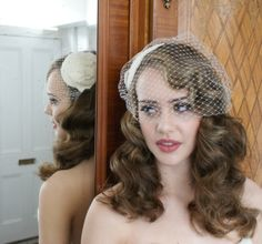 vintage style bird cage veil with hair down   Ivory Birdcage veil with Lace and silk Fasinator.vintage style Bridal ...