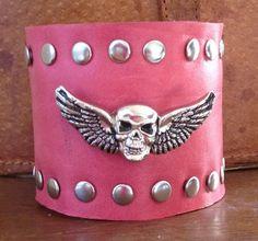 melon PINK LEATHER cuff bracelet studded with SKULL by whackytacky, $45.00
