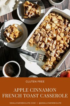 This easy recipe for gluten free apple cinnamon french toast casserole is baked the same day. You can have breakfast ready to eat in under an hour. It is delicious with maple syrup or on it's own. I love this recipe for brunch! #glutenfree #recipe #breakfast #apple