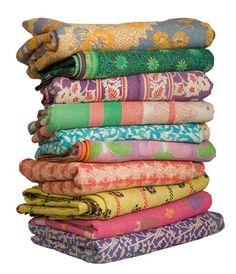 5pc wholesale set of Vintage Kantha Throws Queen Quilted kantha ... : quilted throws wholesale - Adamdwight.com