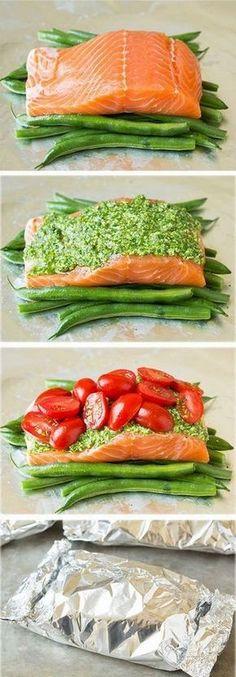Pesto Salmon and Italian Veggies in Foil