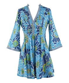 Look at this Tropical Blossoms Blue V-Neck Tunic - Women on #zulily today!