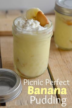 This banana pudding is so delicious with all real ingredients and just as fast as a box! Making them in these little jars makes them perfect for your picnic!