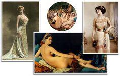 Romantique-Bohême: Romantique-Bohême: photo colorisée par Walery Of Marville vers 1905, deux œuvres d'Ingres: le Bain Turc et la Grande Odalisque, et une photo d'époque Edouardienne/ Robe vintage boho chic