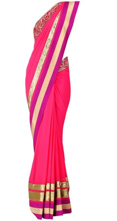 Fuchsia sari with purple and gold gota stripe and sequins by VARUN BAHL. Shop at https://www.perniaspopupshop.com/valentines-special/varun-bahl-2