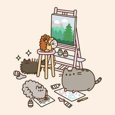 freetoedit pusheen stormy pip - GIF by Valerie Chat Pusheen, Pusheen Love, Pusheen Stuff, Kawaii Wallpaper, Cat Wallpaper, Painting Wallpaper, Pusheen Stormy, Chat Kawaii, Cute Kawaii Drawings