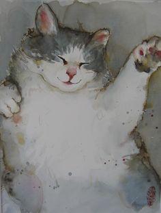 "Saatchi Online Artist: Marie-helene Stokkink; Watercolor, 2008, Painting ""dreaming of dancing"""
