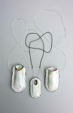 Robert Goldsworthy, MA, 2015, Birmingham City University, Wearable Vessels, 2015, necklaces, copper, vitreous enamels, 110 x 60 x 30 mm, photo: artist