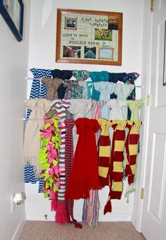 Superbe Spring Loaded Rods In A Small Space For Scarf Storage. I Like The Idea Of  Staggering Them!