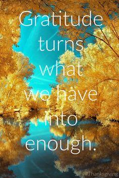 Gratitude turns what you have into enough #Gratitude