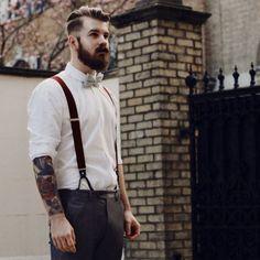 649eb7904d038 beard and mustache beards bearded man men mens  style suspenders bowtie  dapper retro vintage look tattoos tattooed hairstyle hair cut barber