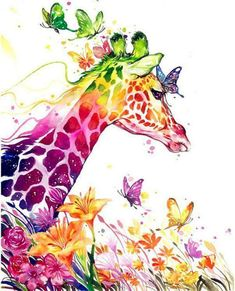 Rainbow colored Giraffe painting with butterflies. 80 Easy Watercolor Painting Ideas for Beginners Giraffe Painting, Giraffe Art, Cartoon Giraffe, Giraffe Pattern, Elephant Art, Easy Watercolor, Watercolor Animals, Watercolour, Watercolor Tattoo