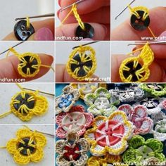 """Crochet Flowers Easy Beautiful Easy Crochet Button Flowers Craft Project Homesteading - The Homestead Survival .Com """"Please Share This Pin"""" Crochet Puff Flower, Crochet Flower Tutorial, Crochet Leaves, Crochet Flower Patterns, Crochet Flowers, Crochet Ideas, Crochet Buttons, Cute Crochet, Crochet Crafts"""
