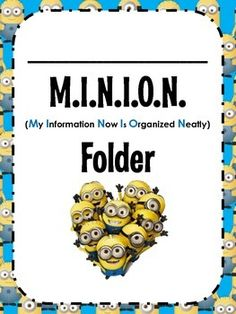 Time to Assemble the Minions!This is easy way to help organize your students and ensure that important notes get delivered between home and school. In this product there are covers for not only MINION folders but also MINION binders! (Use whichever one you prefer to use in your classroom!)Also included are the rules, a parent note, and labels for the different parts of the folder/binder.