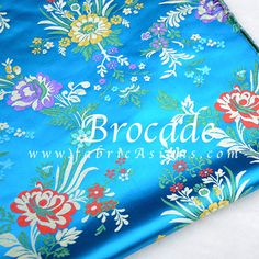 Greenish Blue Fabric. Floral Chinese brocade in by fabricAsians