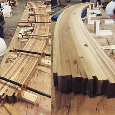 Here's what's happening in the shop today! We are making custom curved glue laminated stair stringers for a treehouse build in Texas. Laminate Stairs, Wood Laminate, Router Woodworking, Woodworking Techniques, Steam Bending Wood, Roof Truss Design, Stairs Stringer, Build A Farmhouse Table, How To Bend Wood