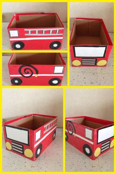 Box, different color contact paper.  Fire truck enhancement.  Theme: My Community