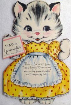#145-Kitty Cat Paper Doll! Vintage Gibson Birthday Tri-Fold Diecut Greeting Card   eBay
