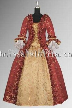 >> Click to Buy << Custom Made 17th Century Red & Gold Baroque Renaissance Dress Handmade in Baroque Damask #Affiliate