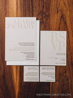 A completely modern letterpress wedding invitation. A two color invitation and RSVP that are elegantly simple.