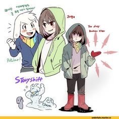 StoryShift, an AU where all the characters roles change. Asriel and Chara taking over Papyrus and San's role.