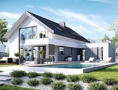 The post appeared first on Baustil. Modern House Plans, Modern House Design, Villa Design, Modern Mansion, Dream House Exterior, Facade House, Home Fashion, Future House, Modern Farmhouse