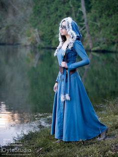 Slate Blue over dress robe with oversized hood Fairy woodland elf medieval costume Halloween LARP & Blue Fairy princess Elf queen Medieval renaissance inspired ...
