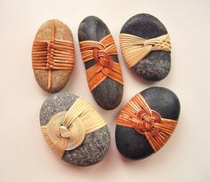 Japanese+Basketry+Knots.+Cane+Wrapped+Rocks+by+Basketeer.
