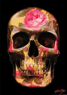 English Rose Skull Art Print by The Floral Skull Memento Mori, Skeleton Art, Candy Skulls, Sugar Skulls, Floral Skull, Skulls And Roses, Skull Design, Skull Art, Dark Art