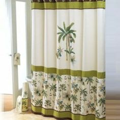 Tropical Shower Curtain - Catesby Palms - Colonial Williamsburg Design - Green and Cream - New - Amazon.com