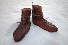 Viking age shoes based on finds from the 9th c. Oseberg ship in Norway.