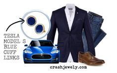 """TESLA BLUE CUFF LINKS"" by crashjewelry on Polyvore featuring Stone Rose, Lands' End, Ted Baker, Deborah Lippmann, Cole Haan, men's fashion and menswear"