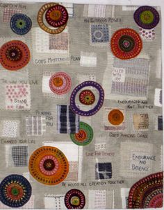 Travel quilt with Kantha embroidery at Debby Quilts