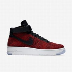 buy popular d9676 ad851  85.11 white and red nike air force 1,Nike Mens University Red Team  Red White Black Air Force 1 Ultra Flyknit Shoe
