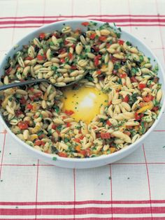 """""""The Best Pasta Salad"""" from Jamie Oliver. Tomatoes, cucumber, basil, and a garlic white wine vinaigrette. A fresh, light summer dinner option. Best Pasta Salad, Pasta Salad Recipes, Orzo Salad, Vegetarian Recipes, Cooking Recipes, Healthy Recipes, Cookbook Recipes, Vegetarian Salad, Delicious Recipes"""